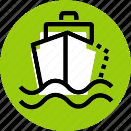 boat, grid, sailor, ship, ship icon, transport, wave icon