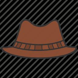 accessory, cap, cowboy hat, fedora hat, headwear, homburg hat, wear icon