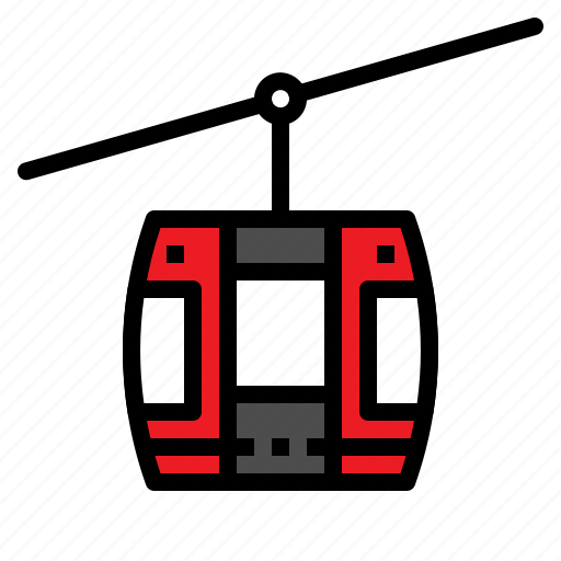 cabin, cable, car, rope, travel icon