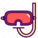 diving, galsses, goggles, outline, sea, traveling, water icon