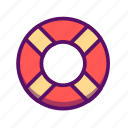 beach, outline, sea, summer, swim, swimming tires, traveling icon