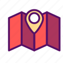 location, map, marker, navigation, outline, pointer, traveling icon