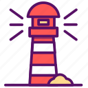 fish, lighthouse, ocean, outline, sea, ship, traveling icon