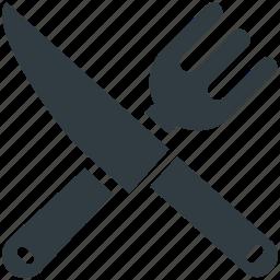 cutlery, eating, fork, knife, restaurant icon