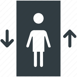 down, elevator, lift, passenger in lift, up icon