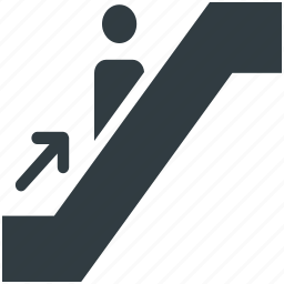 arrow, escalator, moving stairs, staircase, stairs, steps, upstairs, upward icon