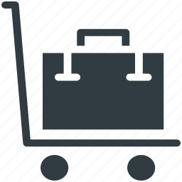 dolly, hand trolley, hand truck, luggage cart, pushcart, trolley, warehouse icon