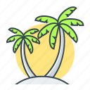 beach, holiday, palm, palm trees, trees icon