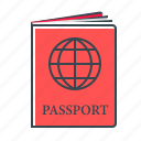 document, international, international passport, passport icon