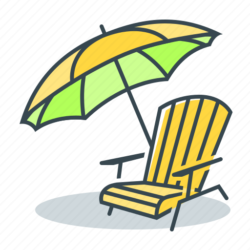 beach, place, place for rest, recliner, rest, umbrella icon