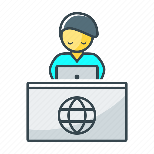 desk, reception, receptionist, registration, table icon