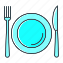 crockery, cutlery, dishes, restaurant, tableware icon