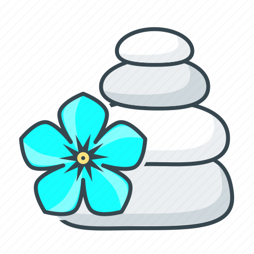 flower, relaxation, spa, stones icon