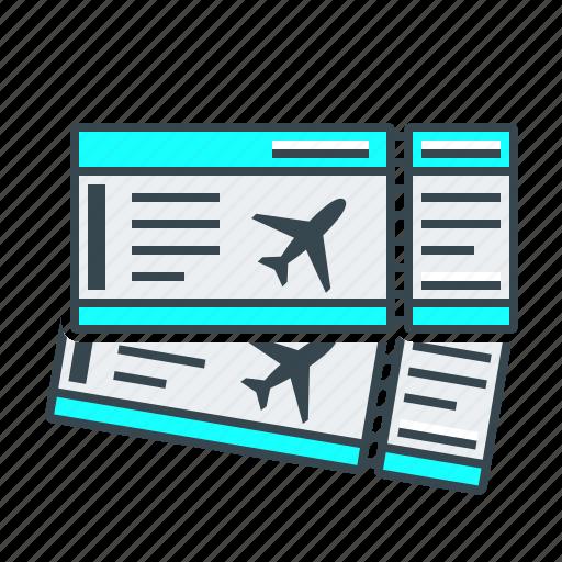 airplane tickets, tickets, travel icon