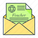 envelope, letter, message, travel, voucher icon