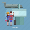 airplane, airport, camera, suitcase, tourist, travel icon