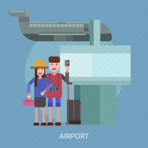 airplane, airport, camera, suitcase, tourist, travel icon