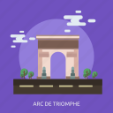 arc de triomphe, cloud, monument, tour, tree icon