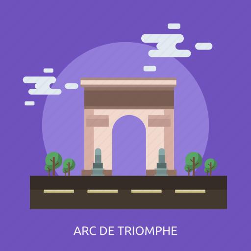 arc de triomphe, cloud, monument, tour, tree icon