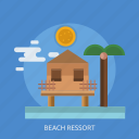 beach ressort, fence, house, sun, tree icon