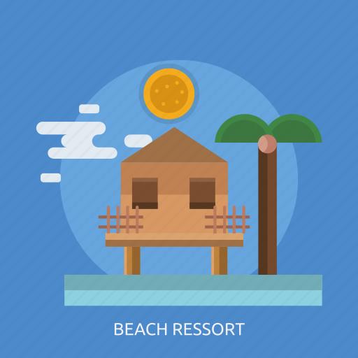 beach ressort, fence, house, sun, tree icon