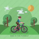 bike, forrest, garden, male, man, sun, tree icon