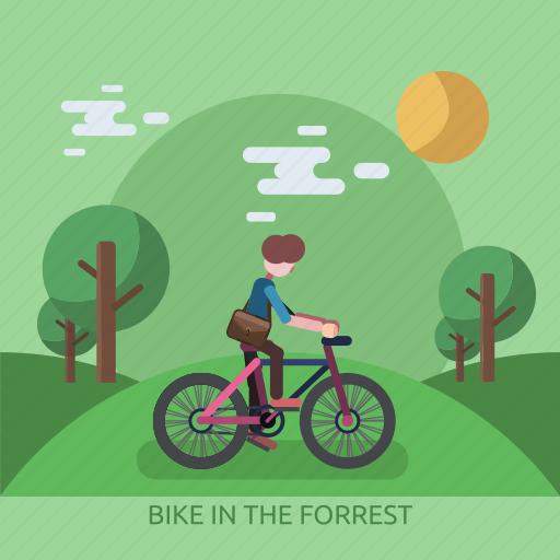 bike, forrest, garden, male, man, sun, tree icon
