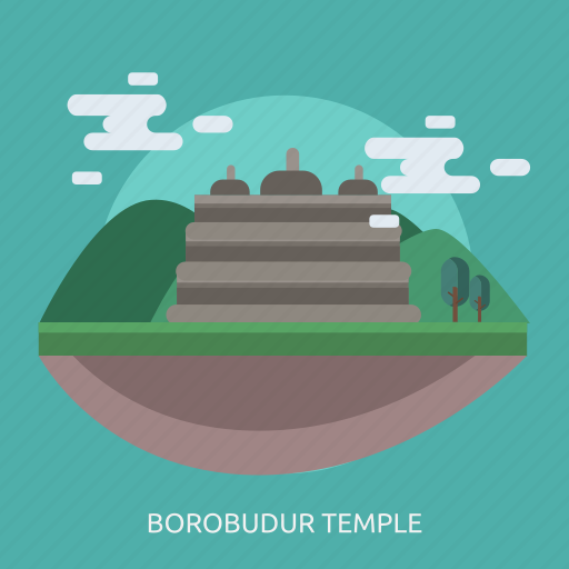 borobudur temple, cloud, monument, tour, tree icon