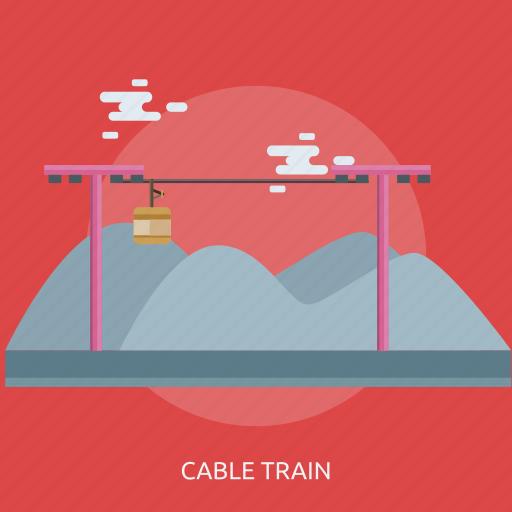 cable train, cloud, mountain, pole icon