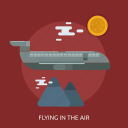airplane, cloud, flying in the air, mountain, sun, traveling icon