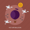 air balloon, cloud, flag, holiday, sun icon