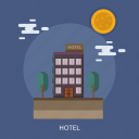 cloud, holiday, hotel, sun, tree icon