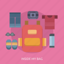 bag, camera, glasses, holiday, shirt icon