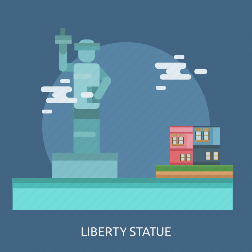 cloud, hotel, liberty statue, monument icon