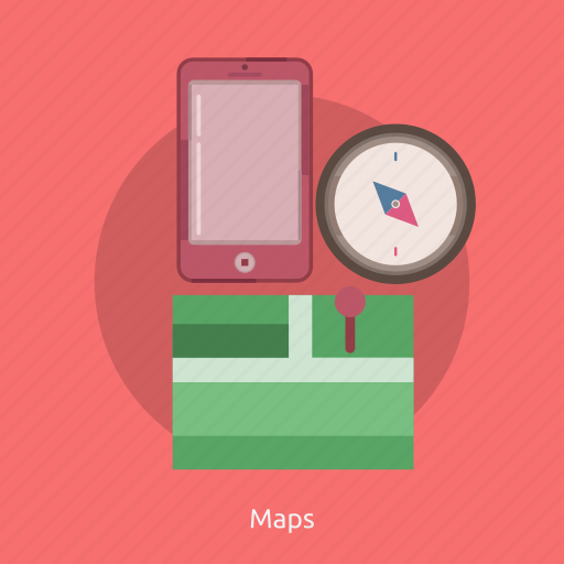 compass, map, phone icon