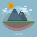 cloud, mountain, natural, sun icon
