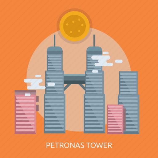 cloud, petronas tower, sun icon