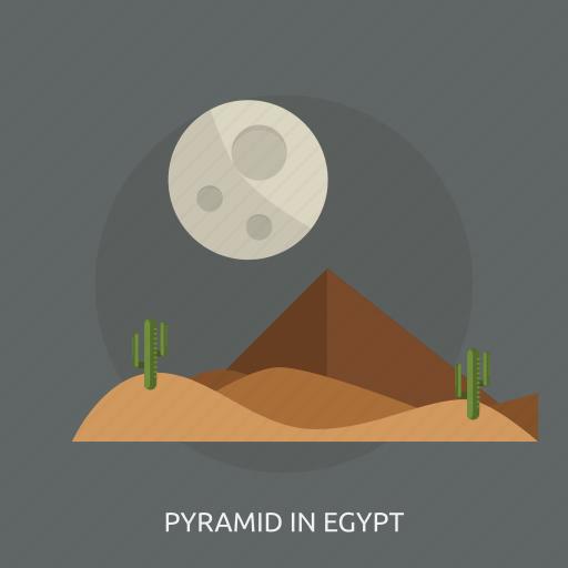 cactus, desert, moon, night, pyramid in egypt icon
