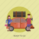 car, holiday, ready, tour, traveling icon