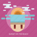 beach, cloud, holiday, sunset icon