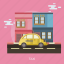 car, city, cloud, road, taxi icon