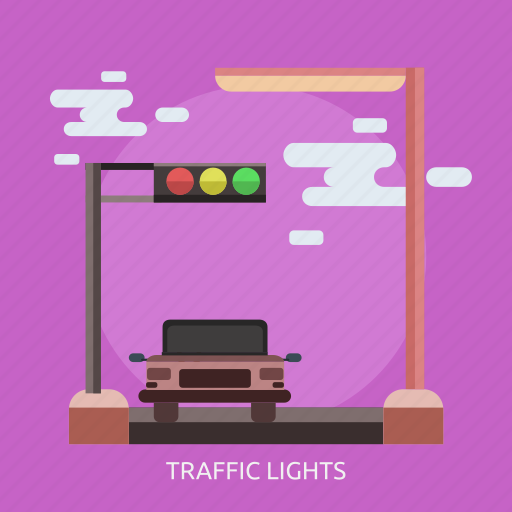 car, green, red, traffic light, yellow icon