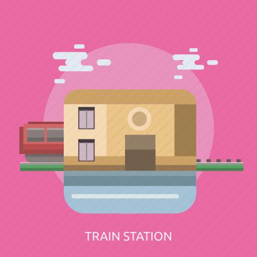 cloud, train, train station icon
