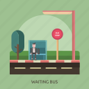 bus stop, man, road, tree, waiting bus icon