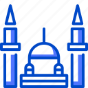 blue, holiday, mosque, suitcase, tourism, vacation, world icon