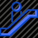 escalator, holiday, suitcase, tourism, vacation, world icon