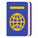 document, identity, passport, travel icon