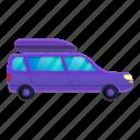 3, business, car, family, retro, travel, violet icon