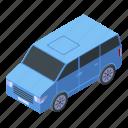 van, family, cartoon, mini, travel, isometric, business icon