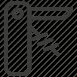 blade, car, corkscrew, hike, knife, set, travel icon